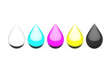 Ink Droplets, CMYK and White