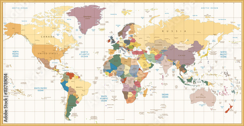 Fototapeta Vintage color political World Map