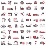 Fototapety Auto Icons in Red and Black Color