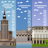 Fototapety Warsaw tourist landmark banners. Vector illustration with Poland famous buildings. Travel concept.