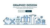 Graphic design, concept header, flat design thin line style