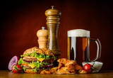 Burger with Cold Beer and Fries