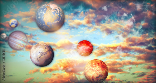 Naklejka Fantasy sky with clouds and planets