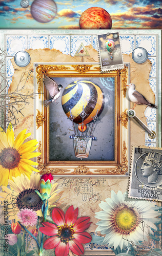 Staande foto Imagination Magic mirror with hot air balloons,flowers of spring and old sta