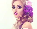 Fototapety Summer  woman . Beautiful model with flower wreath on his head . Makeup smoky eyes . Summer girl with trendy makeup .