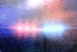Police crime scene, rain background with police lights - 113821615
