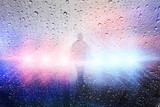 Police crime scene, rain background with police lights - 113822043