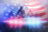 Police crime scene, rain background with police lights and american flag - 113822290