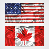 American and canadian flag vector illustration, white background - 113824879