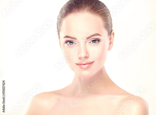 Beautiful Young Woman with Clean Fresh Skin close up . Skin care face . Cosmetology © Sofia Zhuravetc