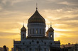 The Cathedral of Christ the Saviour during an amazing yellow sunset in Moscow. Russia