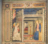 Old rainassance fresco painting of the Annunciation of the Archangel Gabriel to the Virgin Mary, on the wall of the cathedral of Santa Maria del Fiore in Florence.