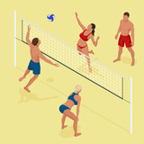 Group young Friends Playing Volleyball On Beach. Beach volleyball Is a popular sport that is played on the beach. Flat 3d vector isometric illustration.