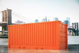 Orange cargo in city