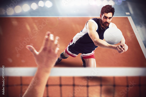 Poster Volleyball-Spieler in Aktion