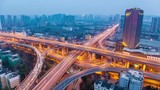 city highway overpass in hangzhou ,  time lapse of bright lights and traffic at dusk to night