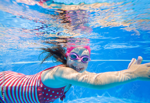 Poster girl in swimming pool
