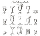 Fototapety Hand drawn drinks. Vector sketch of alcoholic and non-alcoholic beverages