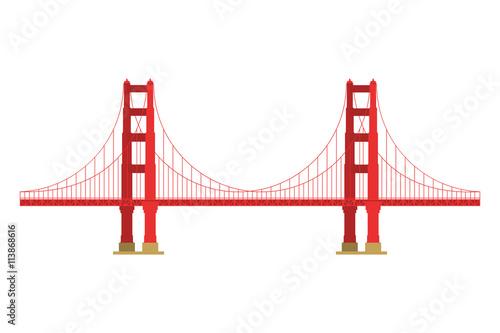US symbol - Golden Gate Bridge. Vector landmark isolated over the white background. San Francisco, United States of America. Side view. Flat style illustration