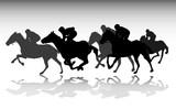 horse race silhouettes - vector - 113870030