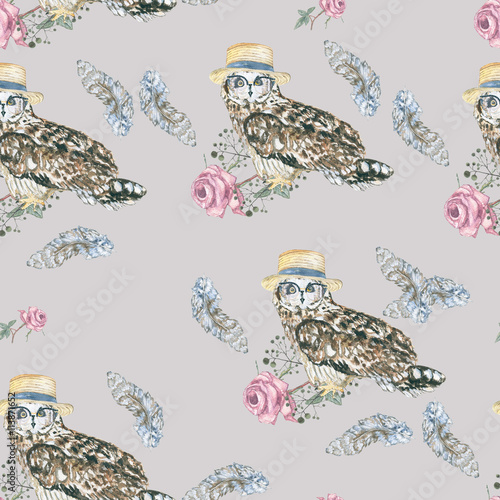 pattern owls on grey\ watercolor owl hipster - 113871652