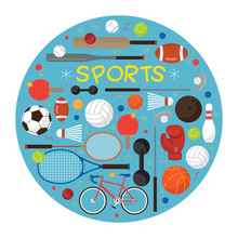 Sports Equipment Flat Icons Label Objects Recreation And Leisure Blue  Sticker
