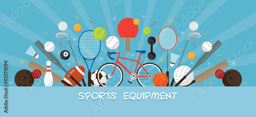 Sports Equipment, Flat Icons Display Banner, Objects, Recreation and Leisure, Blue Background