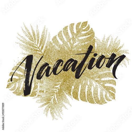 pismo-od-wakacji-typografia-napis-i-kaligrafii-szablon-projektu-plakat-i-ulotki-liscie-palm-i-monstera-ilustracji-wektorowych