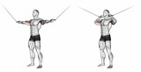 Curls with handles upper blocks. Exercising for bodybuilding Target muscles are marked in red. Initial and final steps. 3D illustration - 113879236