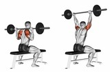 Press of a bar because of the head sitting. Exercising for bodybuilding Target muscles are marked in red. Initial and final steps. 3D illustration