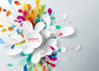 Abstract background with paper flower. - 113880279