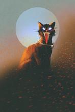 Zły kot na tle księżyca, nieumarłych, horror koncepcji, ilustracji