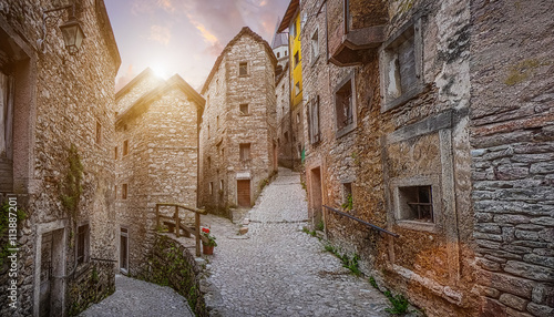 Fototapety, obrazy : Old town in Europe in beautiful evening light at sunset