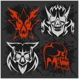 Set of tribal skulls for tattoo.