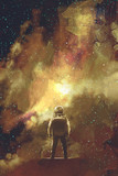 Fototapety astronaut standing against universe stars filled,illustration painting