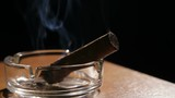 Burning cigar in ashtray.Smoking cigar in an ashtray on dark background