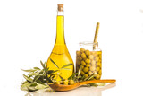 Extra virgin olive oil and salted olives isolated - 113892847