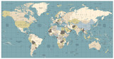 World Map old colors illustration: countries, cities, water obje