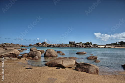 Poster Beach and Stones at the Pink Granite Coast in Brittany France