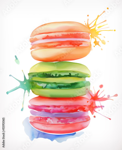 Naklejka Macarons vector illustration, watercolor painting, isolated on a white background