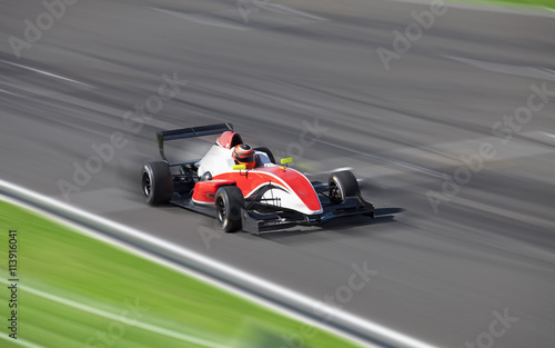 Fotobehang Formule 1 Bolide driving at high speed in circuit
