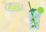 Nice mojito of ice cold glass on a color background. Soda with w