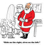 Christmas cartoon showing Santa with children.