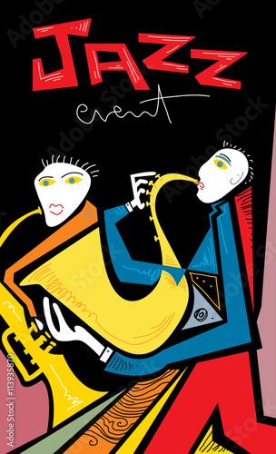 Fototapeta Abstract Jazz Band Art, Sax and Trumpet Players (vector Art)