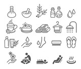 Fototapety Spa massage therapy cosmetics icons. Vector Illustration.