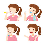 Girl Cleaning Teeth Set, Medical, Dentistry, Hospital, Checkup, Patient, Hygiene, Healthy, Treatment