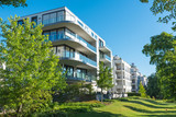 Modern apartment houses with garden seen in Berlin, Germany - 113938687