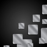 Abstract tech dark background with metal squares