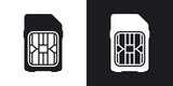 SIM card icon, vector. Two-tone version on black and white background