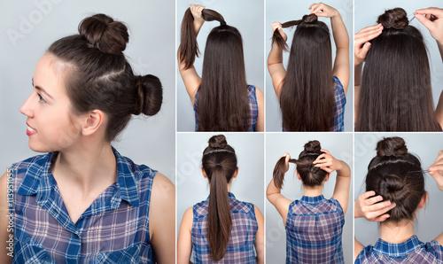 Hairstyle two bun tutorial © alter_photo